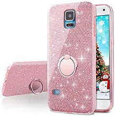 Galaxy Case,Silverback Girls Bling Glitter Sparkle Cute Phone Case with 360 Rotating Ring Stand, Soft TPU Outer Cover + Hard PC Inner Shell Skin for Samsung Galaxy -Rose Gold Galaxy S5 Case, Samsung Galaxy S5, Ring Stand, Case Closed, Cute Phone Cases, New Phones, Phone Cover, Scrunchies, Telephone