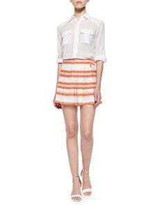 Pleated Shorts Pleated Shorts, Alice Olivia, Neiman Marcus, Mini Skirts, Spandex, Blouse, Womens Fashion, Fashion Design, Clothes