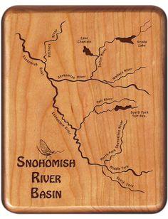 Custom Designed - Laser Engraved - River Map Fly Boxes by StoneflyStudio Washington River, Forked River, South Fork, Fly Fishing Gear, Custom Boxes, Custom Engraving, Rivers, Basin, Alaska