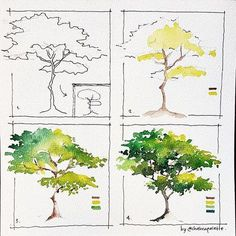 art acuarela I was sketching this tree when a thought hit me --gt; what about This simple tree is literally simple to Tree Watercolor Painting, Watercolor Painting Techniques, Watercolor Tips, Watercolour Tutorials, Simple Watercolor, Watercolor Flowers, Watercolor Artists, Watercolor Landscape Tutorial, Abstract Watercolor