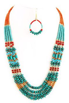 Add a splash of color to your favorite top or dress with this eye-catching turquoise and hot orange colors Tribal Style Necklace Set. Slip on one for holidays, vacation or simply to brighten your day!Braided Suede Necklace Set in taupe color with a lovely Bohemian Accessories, Bohemian Jewelry, Beaded Jewelry, Handmade Jewelry, Bohemian Fashion, Tribal Fashion, Beaded Earrings, Diy Jewelry, Jewelry Necklaces