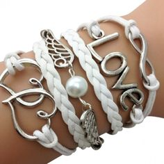 This ( extend chain) Wrap bracelet is made with Braided leather and wax cording.It does up with a lobster claw and can fit from 16 - (with extender chain). It has a Love charm, infinity charm, Double Heart charm, and Wings charm. Cheap Bracelets, Love Bracelets, Bangle Bracelets, Bangles, Strand Bracelet, Heart Bracelet, Bracelet Men, Leather Charm Bracelets, Infinity Charm