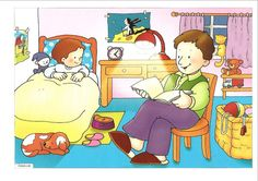 They are in the bedroom what are they doing? they are reading a book Oral Motor Activities, Sequencing Pictures, Picture Composition, Spanish Lesson Plans, Aphasia, Action Verbs, Picture Writing Prompts, School Clipart, Hidden Pictures