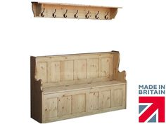 Solid Pine Monks Bench, 5ft Handcrafted Hallway Shoe Storage Seat with Coat Rack | Benches | Furniture - Zeppy.io