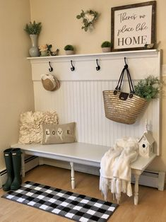 Bench Decor, Entryway Furniture, Farmhouse Furniture, Furniture Ideas, Built In Bench, Organizing, Decoration, Live, Bench Mudroom