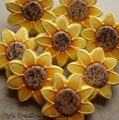 #Beautiful #Sunflower decorated sugar #cookies one dozen by ChrisCreativeConfections on Etsy.com, $38.00