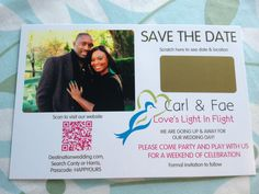 A FABULOUS NEW SAVE THE DATE. This is a destination wedding to Jamaica. Notice the QR code, it's something new we are doing at MyScratchOffLabels.com. Here is side 1 of 2 #savethedate #wedding