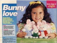 BUNNY LOVE Vintage Knitting Pattern for Easter Bunnies. Knitted Soft Toy Rabbits with Outfits, by PatternaliaVintage
