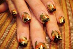 """fall thanksgiving autumn nail art"" ""autumn leaves nail art"" ""snoopy and woodstock pilgrim nail art"" ""pilgrim nail art"" ""thanksgiving nail art"" ""cute thanksgiving nails"" ""thanksgiving nail designs"" ""fall nail designs"" ""fall nails"" ""fall faery nails"" ""fall Simple Fall Nails, Cute Nails For Fall, Autumn Nails, Spring Nails, Thanksgiving Nail Designs, Thanksgiving Nails, Cute Nail Art Designs, Fall Nail Designs, Fingernail Designs"