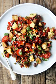 """""""magic"""" peppers salad with pine nuts, capers, and olive oil-fried bread"""