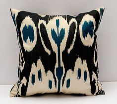 15x15 black navy cream ikat cushion case ikat pillow by SilkWay