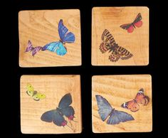 Wood Coasters, Butterfly Design Coaster Set, Recycled Gift Ideas, Birthday Gifts for her, Rustic Wedding Decor, Butterfly Coasters, Coasters