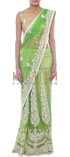 Buy Online from the link below. We ship worldwide (Free Shipping over US$100) http://www.kalkifashion.com/vibrant-green-lehenga-saree-embellished-in-pearl-only-on-kalki.html
