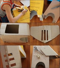 In German, but step-by-step pics are very good for making knight helmet from cardboard. Wondering if I can simplify, and use a heavy silver paper bag. Knights Helmet, Silver Paper, Dragon Knight, Recycling, Children, Kids, Learning, Vikings, Birthday Ideas