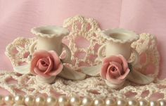 Shabby Chic Small  Vintage Rose Candle Holders  by happybdaytome, $14.00