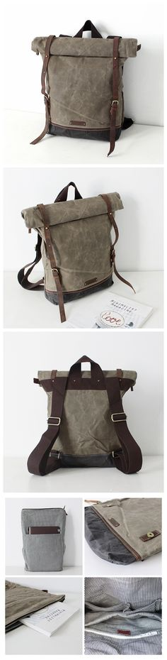 Handcrafted Waxed Canvas Travel Backpack Laptop Rucksack School Backpack 14116
