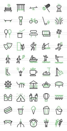 50 Outdoor Fun Green & Black Icons by IconBunny on @creativemarket