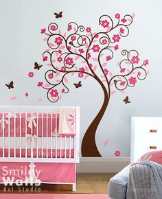 Curly Flower Tree with Butterflies Nursery Vinyl by smileywalls, $105.00