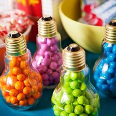 Here's a bright idea: Use lightbulbs as candy holders for a trivia bash!