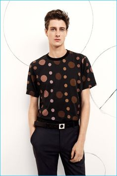 Marc André Turgeon wears a retro-inspired circle print t-shirt from Paul Smith's…