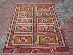 "Anatolian Turkish Classic Bergama Kilim CICIM Rug Carpet 95"" x 65"" | eBay"