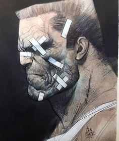 Sin City - Marv by Ben Oliver * Heros Comics, Comic Book Heroes, Comic Books Art, Frank Miller Sin City, Frank Miller Art, Bilal Enki, Ben Oliver, Comic Kunst, Comic Styles