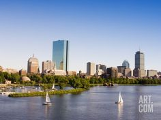 City Skyline and Charles River, Boston, Massachusetts, USA Photographic Print by Amanda Hall at Art.com