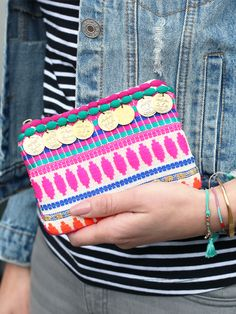 Ibiza coin pouch - now available via www.my-jewellery.com   #ibiza #pouch #coins #aztec #colors #neon #summer #fashion #denim #jacket #striped #t-shirt #outfit #my-jewellery