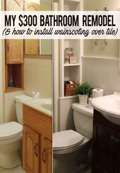 white beadboard applied directly over tile. my pink bathroom is ...