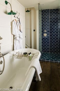 Beautiful crackle glaze tiles in this hotel bathroom....This building is a classic Georgian Grade II* villa which was derelict for seven years and has been restored by the owners to create a beautiful restaurant, bar and B&B....