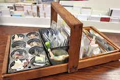 Mish Mash: Project Life Organization....My Work Space + Favorite Products...features this fun wooden organizer with vintage tins