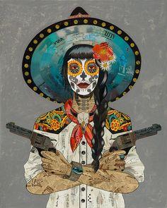 Los Muertos Tattoo, Large Prints, Framed Prints, Southwestern Art, Collage Artwork, Skull Print, Art Fair, Plexus Products, New Art