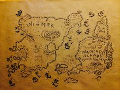 Isle of Berk and Meathead Islands map - traced onto brown craft paper for a backdrop for How to Train Your Dragon Party.