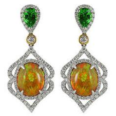 Opal Tsavorite Garnet Diamond Gold Drop Earrings