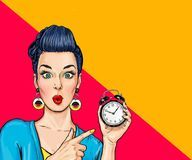 Surprised comic woman with clock. Stock Image