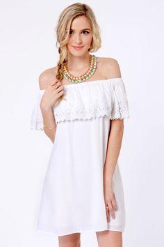 Billabong Summer Dayz Dress - White Dress - Off-the-Shoulder Dress - $59.50