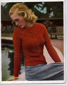 Jacket with Bubble-Stitch Yoke by Patons UK: Stitchcraft January 1947