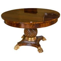 Empire Style Flame Mahogany Circular Dining Table