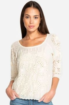 This Johnny Was top makes us want to relax, unwind and enjoy an afternoon cocktail. White Sheer Top, White Tops, Eyelet Top, Johnny Was, Peasant Tops, Chic Outfits, Boho Chic, Womens Fashion, Clothes