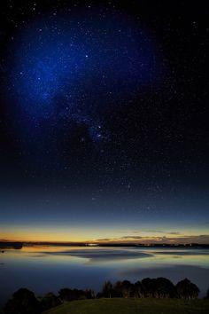 Sunset and stars over Lake Waikare