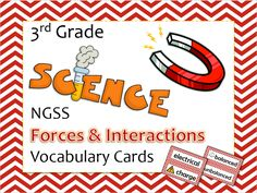 Vocabulary cards for NGSS standards.  3rd grade Forces & Interactions standards.