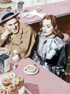 Al Parker (1906 – 1985).  Having a coffee...