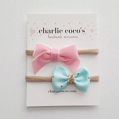 Baby / Girls Bow Headband Set // Hair Clip Set // by CharlieCocos