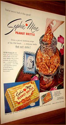 1953 Sophie Mae Peanut Brittle Vintage Candy Ad
