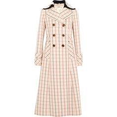Miu Miu Guipure lace-trimmed checked wool coat ($1,845) found on Polyvore featuring women's fashion, outerwear, coats, jackets, coats & jackets, checkered coat, cream coat, double breasted woolen coat, wool coat and pink coat