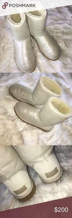 ✨ Limited Edition UGG I believe these were Limited Edition (Don't quote me on that 🙈💕) Metallic Frosting Classic Uggs. No box. Never worn outdoors, since I live in Sunny California ☀️🏖 No longer available online or in-stores from my understanding! 🚫NO TRADES🚫 Offers less than 90% of listed price will not be considered! Please make a reasonable offer 😄❤️ UGG Shoes Winter & Rain Boots