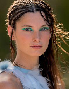 Ava Smith by Hans Feurer for Elle Italia June 2015 green eyeshadow