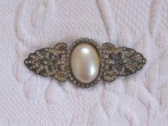 Art Deco Brooch . rhinestone Art Deco Brooch . art deco style pin . pearl and rhinestone pin by vintagous on Etsy