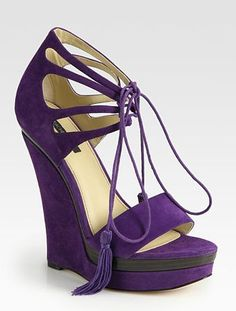 ~ It's a Colorful Life ~, dress-this-way:   Purple Suede Platform Wedge...