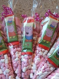Large Peppa Themed Pre Filled Sweet Cones Kids Birthday Party Bags Personalised